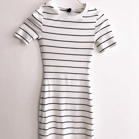 striped bodycon t shirt dress